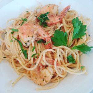 spaghetti aglio e olio con i gamberi 2